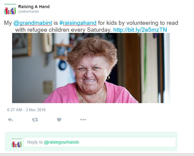 My @grandmabint is #raisingahand for kids by volunteering to read with refugee children every Saturday. http://bit.ly/2e5mzTN
