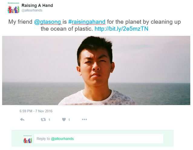 My friend @gtasong is #raisingahand for the planet by cleaning up the ocean of plastic. http://bit.ly/2e5mzTN
