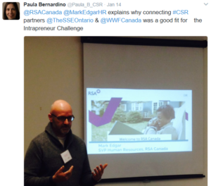 Mark Edgar, SVP of HR at RSA, presents tweet
